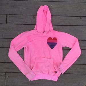 Aviator Nation Pink Pullover Heart Sweatshirt